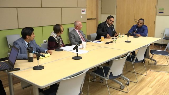 DACA students discuss their future with lawmakers and advocates in New Haven on Friday. (WFSB)