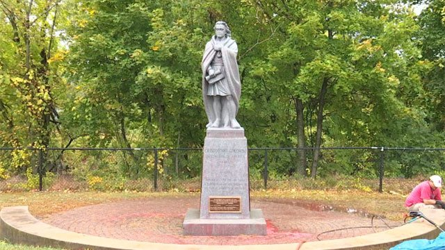 Columbus statue at Harbor Park was vandalized with paint this weekend.  (WFSB)