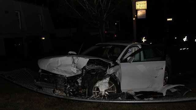 Police are looking for the driver of a stolen Audi who fled the scene of a hit-and-run in Naugatuck on Friday. (Naugatuck police)