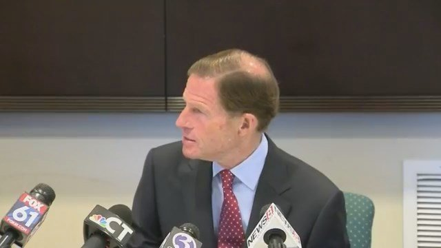 Sen. Richard Blumenthal listened to Puerto Rican families that fled from the destruction of Hurricane Maria. (WFSB)