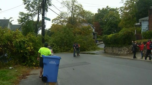 A tree was down in Waterbury on Monday evening. (WFSB)