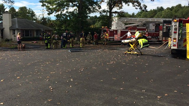 Firefighters knocked down a fire on Grove Road in Cromwell on Tuesday. (WFSB)