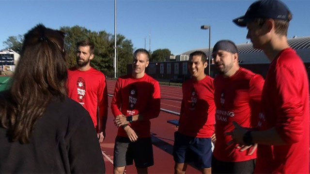 The relay team of Nick Bertora, Michael Dalfonso, Jay Frain, Austin Darley and Nate Patrylak prepare for the Hartford Marathon. (WFSB)