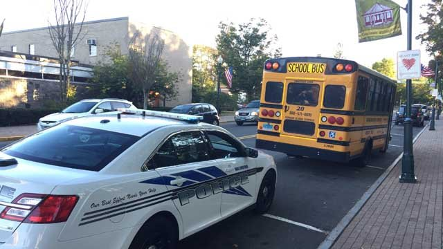 A person was hit by a school bus in Wallingford on Tuesday afternoon. (WFSB)