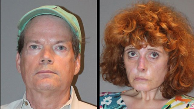 Thomas Yemm and Wendy Canfield were  arrested after police said their 2-year-old child was found wandering in Stratford on Friday morning. (Stratford Police Department)
