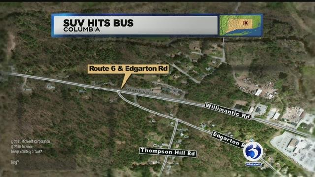 State police are looking for SUV that crashed into school bus in Columbia on Thursday morning. (WFSB)