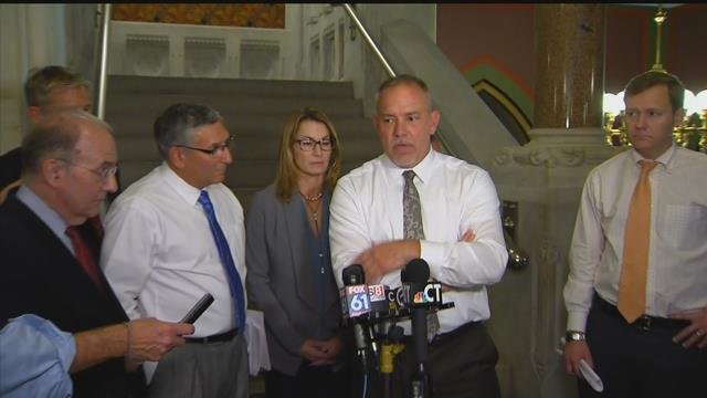 Democratic and Republican leaders talk about the state budget progress after meeting on Thursday. (WFSB)