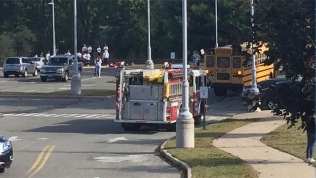 A teenager was struck by a bus near Platt High School in Meriden on Friday afternoon. (WFSB)