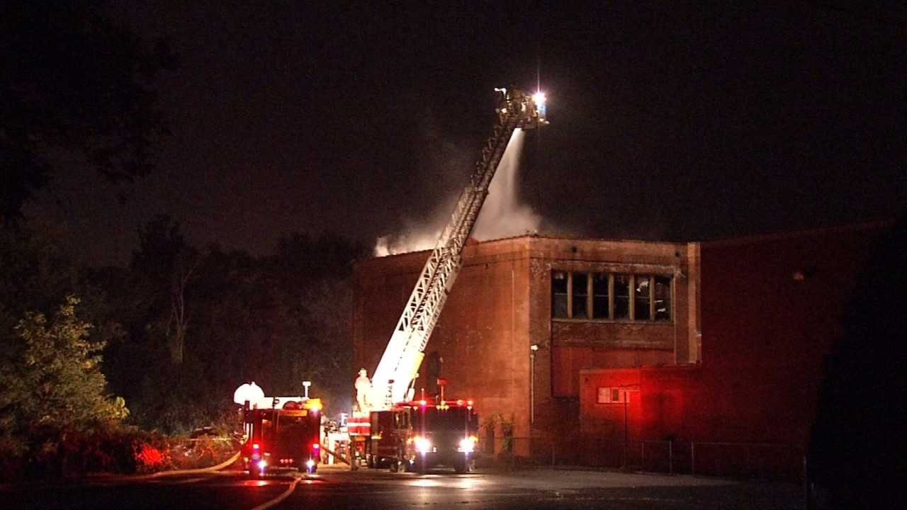 Firefighters put out the blaze at the former O'Connell Elementary School in Bristol on Saturday night.