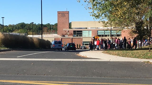 Wethersfield High School was evacuated on Tuesday morning because of a freon leak. (WFSB)