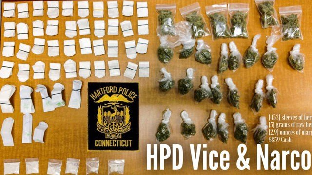 The following items were seized by police on Tuesday. (Hartford Police Department)