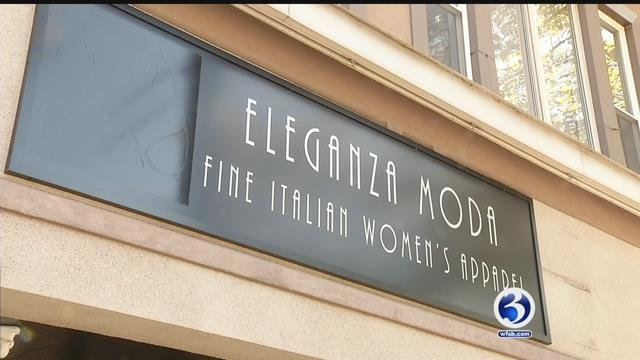 Channel 3 has a look at the storefront of Eleganza Moda that was considered too risque. (WFSB)