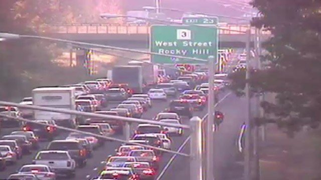 A crash on I-91 north in Rocky Hill caused massive delays on Thursday morning. (DOT)