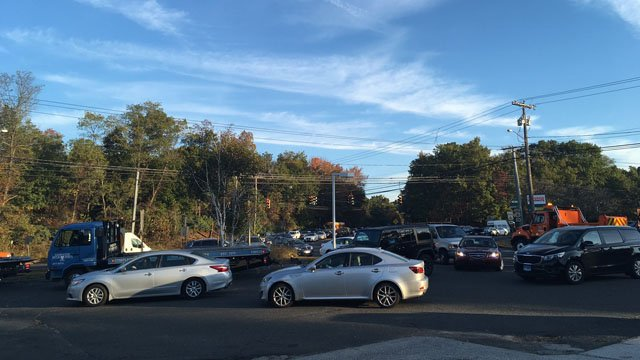 Some of the backup caused by a crash that hospitalized five people on Route 6 in Farmington. (WFSB)