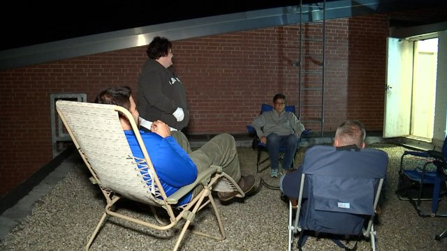 Some Plainville administrators camped out on the roof of a school Thursday night (WFSB)