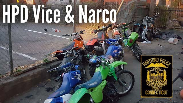 Officers recovered nine dirt bikes during a drug operation in Hartford. (Hartford police)