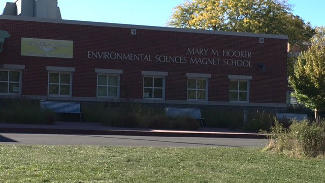 "Principal and teacher on leave after an ""alleged incident"" took place at Environmental Sciences Magnet School at Mary Hooker. (WFSB)"