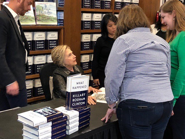 Former Secretary Hillary Clinton signed copies of her new book in Middletown on Saturday.