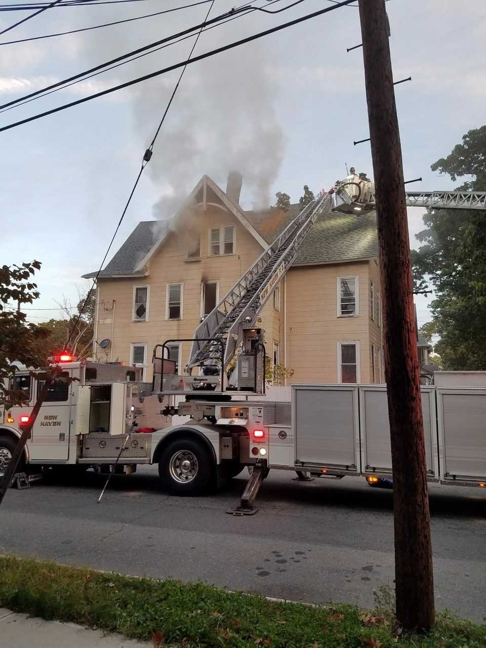 Fire crews responded to a large structure fire on Howard Avenue this morning in New Haven. (Photo Courtesy of George Kenyon)
