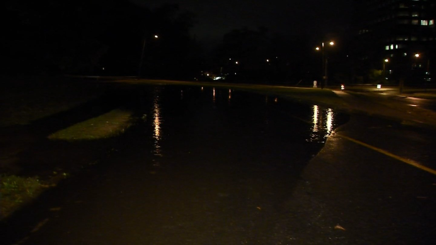Windsor Street in Hartford was flooded from Tuesday's storms. (WFSB)