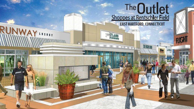 "The Outlet Shoppes at Rentschler Field will ""sit-down restaurants, a food pavilion, and several quick-eats shops, as well as a central courtyard with an outdoor fireplace and an engaging children's play area."" (Horizon Group Properties, Inc.)"