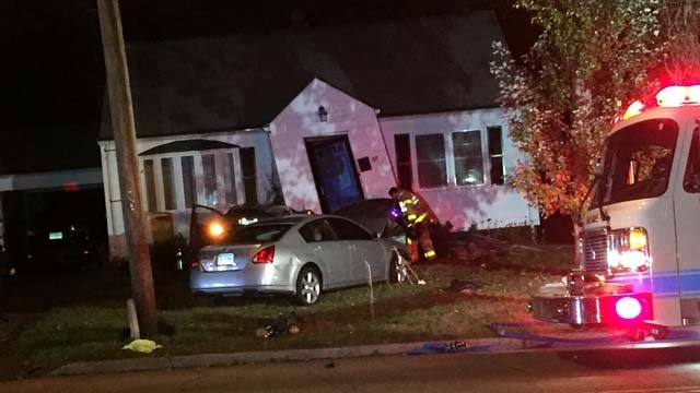 A car crashed into a home in West Haven on Thursday evening (WFSB)