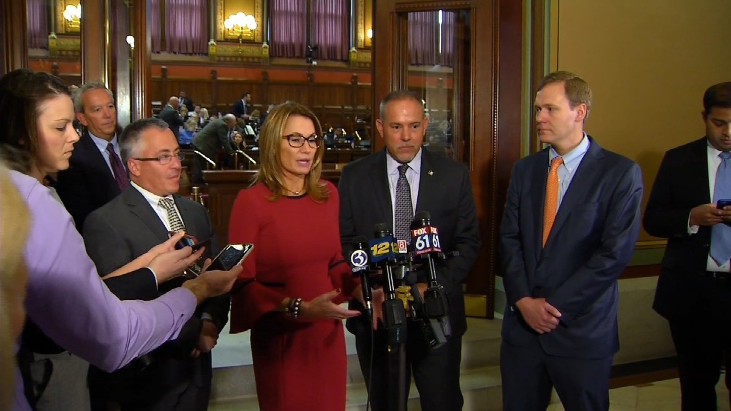 Lawmakers discuss Thursday's passage of a state budget. (WFSB)