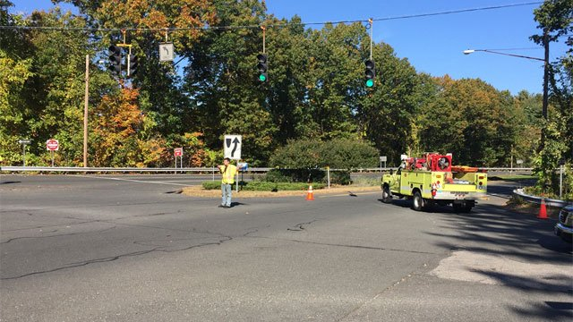 Route 17 in Glastonbury closed due to motorcycle crash. (WFSB)