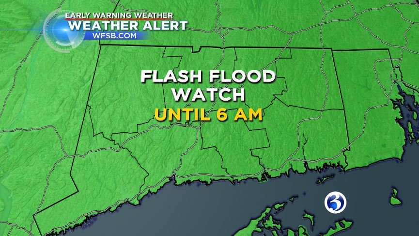 Flash Flood watch remains in effect until 6 a.m..  (WFSB)