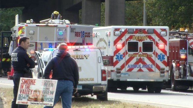 A man was injured afteraserious crash involving a tractor-trailer in Derby on Saturday morning.(WFSB)
