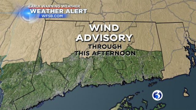 A wind advisory is in effect for Litchfield, Hartford, Tolland and Windham counties until 5 pm. (WFSB)