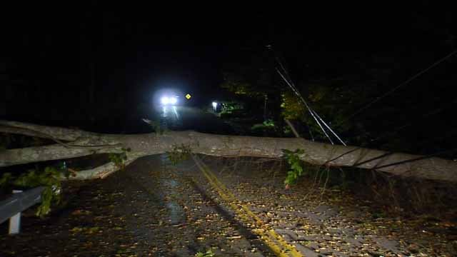 The town of Ledyard postponed trick-or-treating due to storm damage (WFSB)