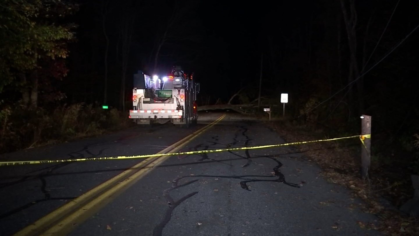 At one point, most of Hebron was in the dark following Sunday into Monday's storm. (WFSB)
