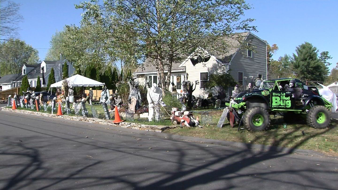 The organizer of a Halloween display in Enfield said someone vandalized and stole one of his props. (WFSB)