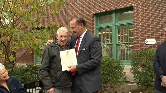 Merv Clemson was honored for his 70-plus years of service at a Manchester company (WFSB)