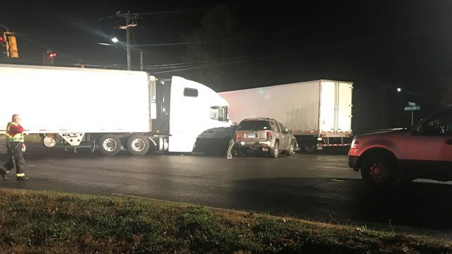 Route 10 in Cheshire was closed on Friday morning due to a crash that involved multiple tractor trailers and vehicles. (WFSB)