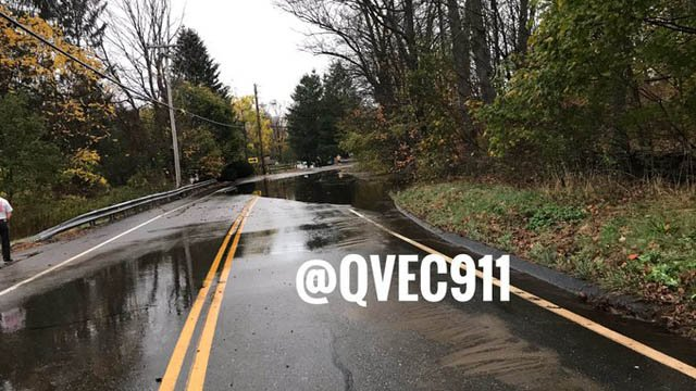 A water main break in Bozrah shut down Fitchville Road on Friday. (@QVEC911)
