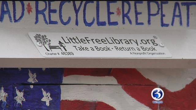 The Little Free Library in Litchfield is offering a lot more than just books, just in time for Veterans Day. (WFSB)