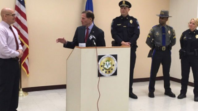 Police and U.S. Sen. Richard Blumenthal talk about fighting cyber crimes and online predators.(WFSB)