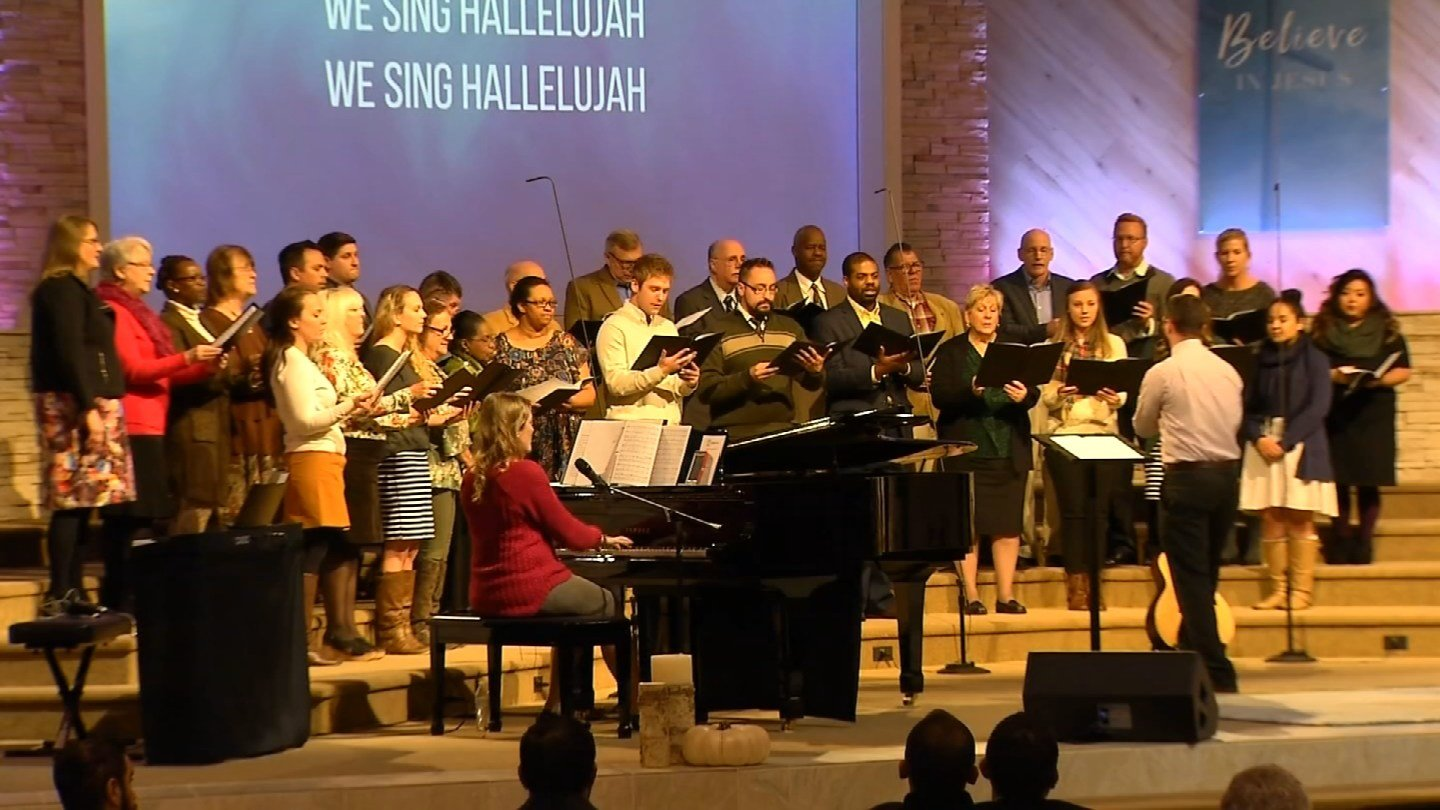 The Emmanuel Baptist Church in Newington came together to pray for the victims of the church shooting in Texas Sunday night. (WFSB)