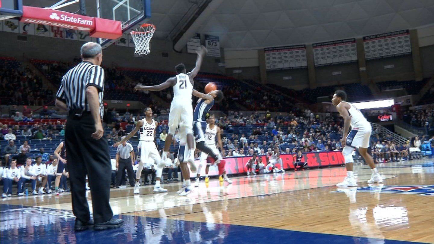 The UConn men's basketball team trounced Queens College in its final exhibition game. (WFSB)