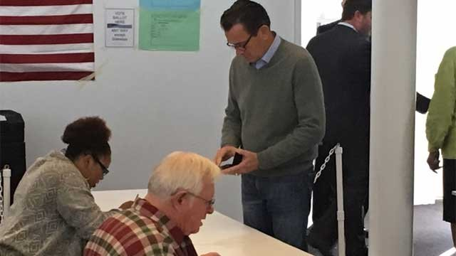 Gov. Dannel P. Malloy vote at Hartford Seminary on Tuesday morning. (WFSB)