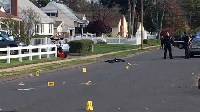 A bicyclist was hit by a motor vehicle in West Hartford, police said. (WFSB)