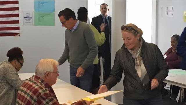Gov. Dannel P. Malloy and First Lady Cathy Malloy cast their ballots on Tuesday. (WFSB)