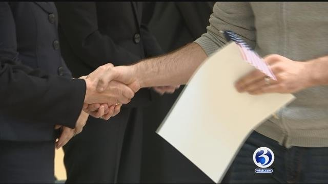Dozens of people became U.S. citizens in Hartford on Tuesday. (WFSB)