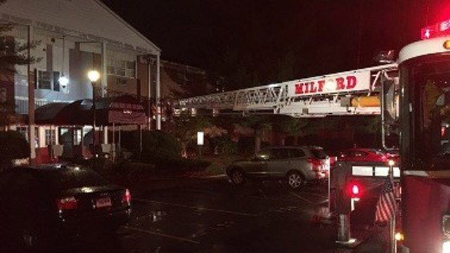 Firefighters battled a fire at an apartment complex on New Haven Avenue in Milford on Tuesday night. (Anthony Fabrizi/Milford Fire Dept.)