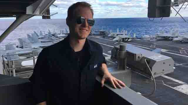 Channel 3 reporter David McKay suits up to be be a sailor for the day. (WFSB)