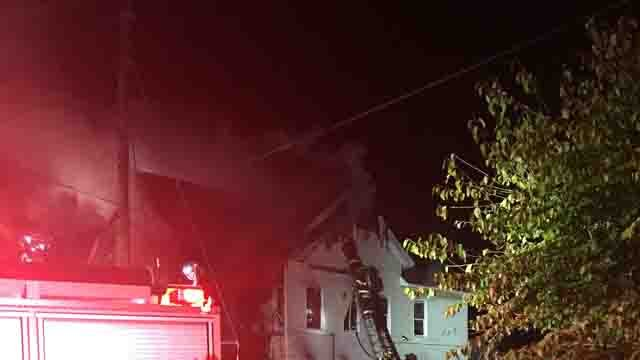 Crews battled a two-alarm fire in New Haven on Wednesday (WFSB)