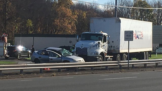 A two-vehicle crash closed part of the Berlin Turnpike in Wethersfield on Thursday afternoon. (WFSB)