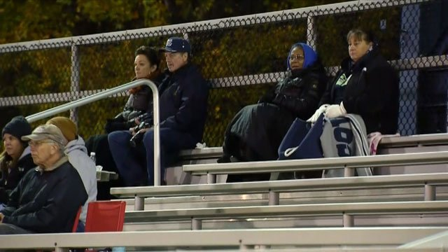 Fans were bundled up at the Wilby vs St. Paul football game on Thursday (WFSB)